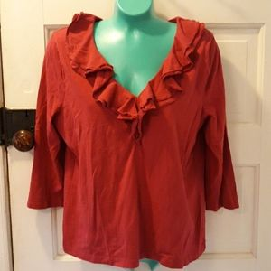 Chaps red ruffled neck PXL